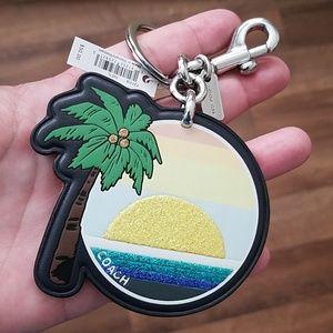 Coach Palm Tree Bag Charm NWT Sunset Keychain